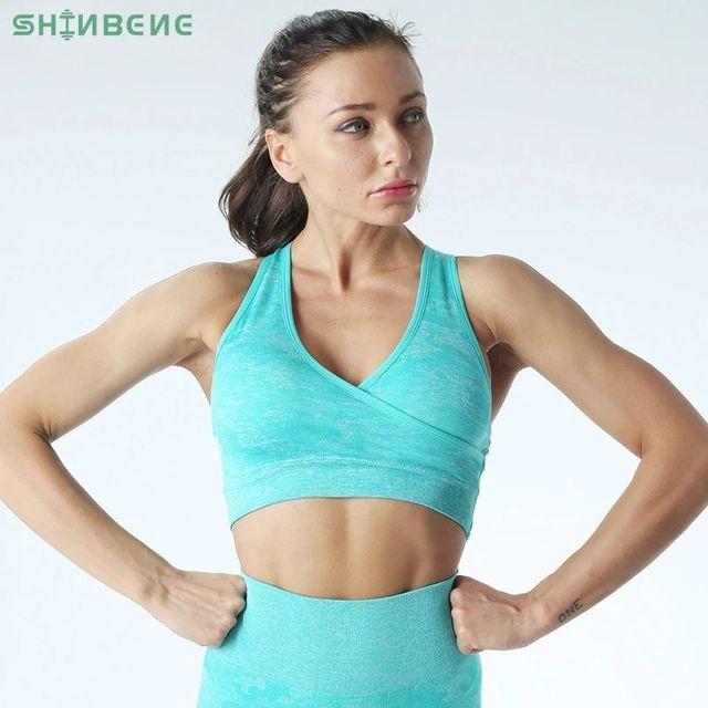 [해외] SHINBENE Camo 원활한 휘트니스 스포츠 브래지어 여성