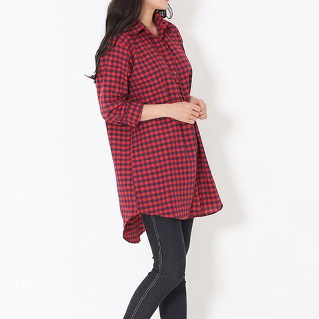 W 여성 데일리 루즈핏 오버핏 체크 패턴 셔츠