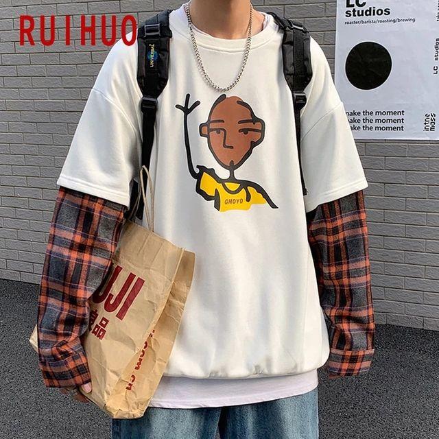 [해외] RUIHUO 격자 무늬 패치 워크 스웨트 남성 의류 하라주