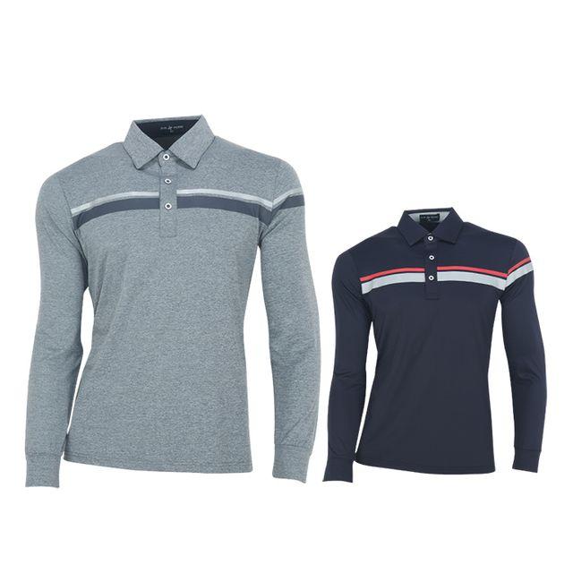 W TCC_페라어스 남성 두줄나염 포인트 긴팔 골프셔츠
