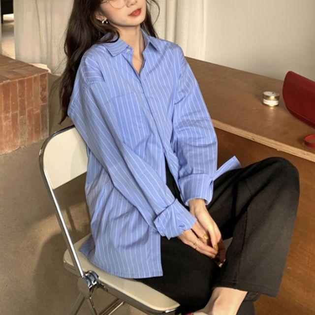 W 여자 오버핏 캐주얼 나들이 패션 스트라이프 셔츠