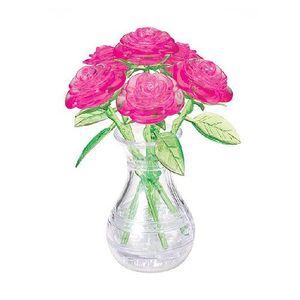 크리스탈 3D 입체 퍼즐 장미 화병-분홍색