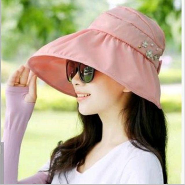 W 접이식 여름 썬캡 챙넓은 모자 자외선 차단 여성