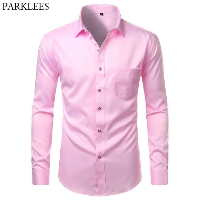[해외] 핑크 남성 드레스 셔츠 긴 소매 대나무 섬유 버튼 다