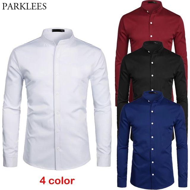 [해외] 화이트 줄무늬 칼라 드레스 셔츠 남성 슬림 피트 긴