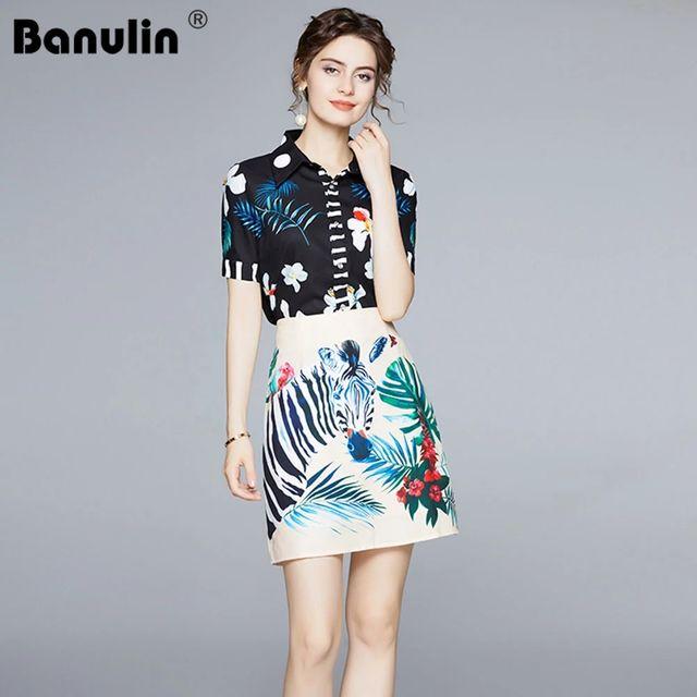 [해외] Banulin 여름 패션 런웨이 스커트 세트 여성 꽃 블랙