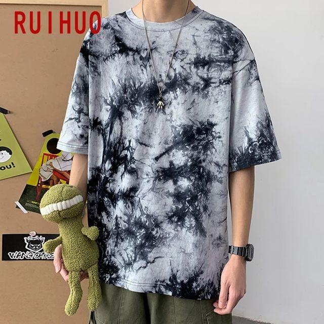 [해외] RUIHUO Tie-dye 캐주얼 T 셔츠 남성 의류 T 셔츠 남성