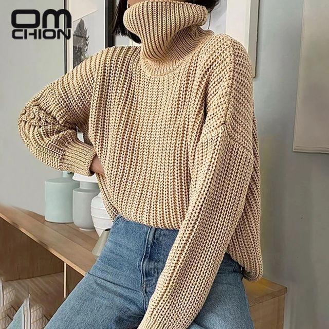 [해외] OMCHION Pull Femme 2021 한국어 패션 터틀넥 롱 슬리