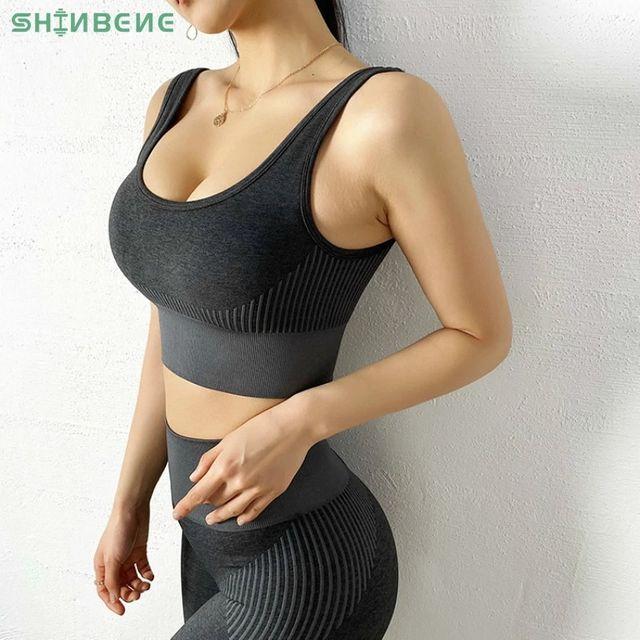 [해외] SHINBENE 원활한 푸시 업 스포츠 브라 자르기 탑 여성