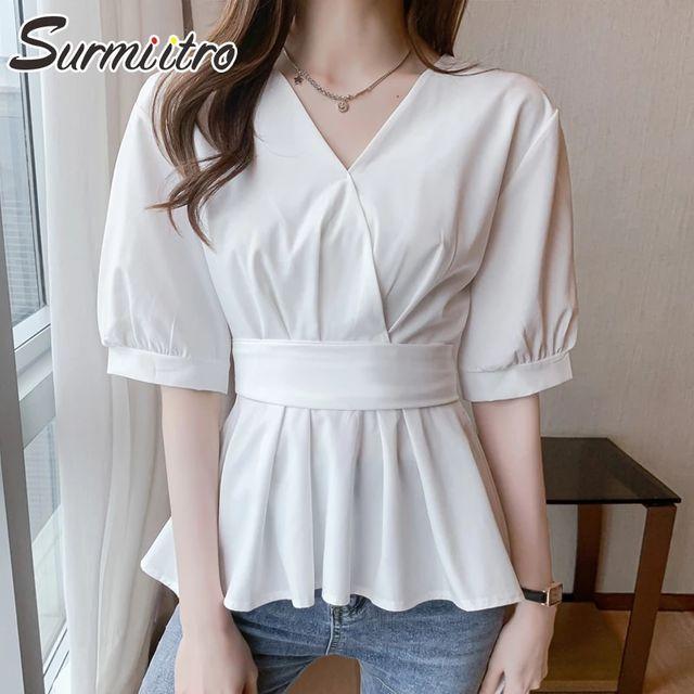 [해외] SURMIITRO 2021 패션 여름 블라우스 여성 짧은 소매