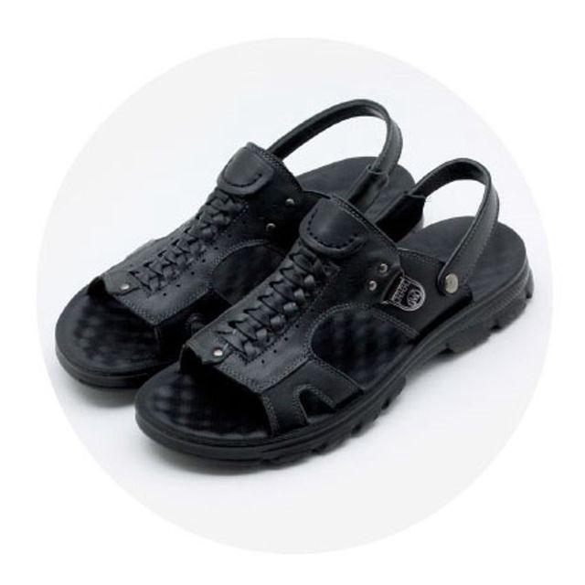 W 남성 샌달 소가죽 샌들 스포츠 여름 신발 샌달 블랙