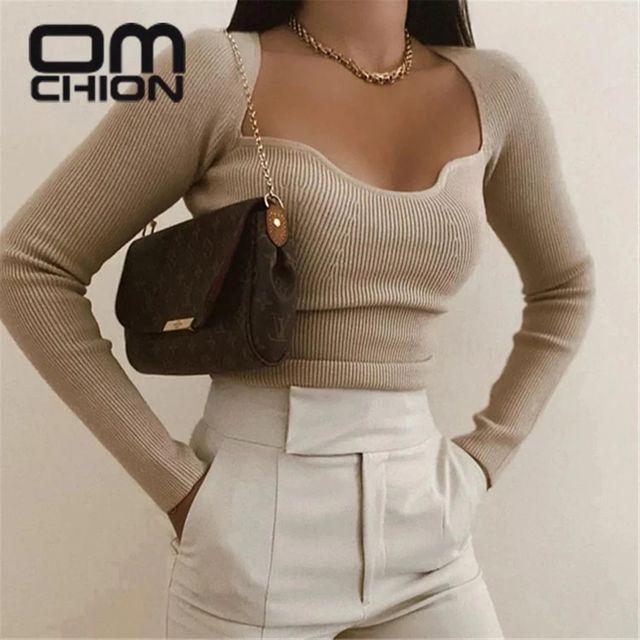 [해외] OMCHION Pull Femme 2021 봄 한국 패션 솔리드 컬러