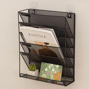 부착식 벽에붙이는 미니 책꽂이 철제 잡지 파일 꽂이