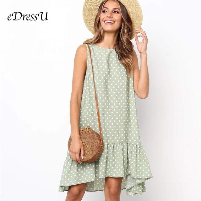 [해외] 8 색 녹색 폴카 도트 여름 드레스 느슨한 민소매 주름