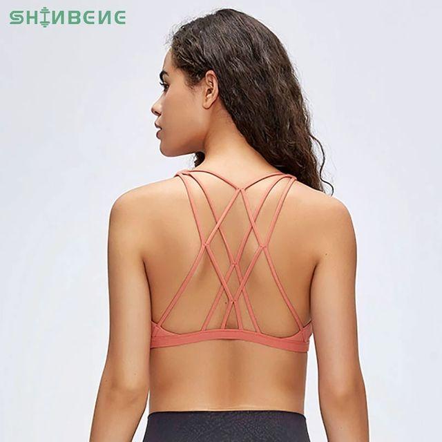 [해외] SHINBENE Naked-feel 크로스 스트랩 운동 체육관 브래
