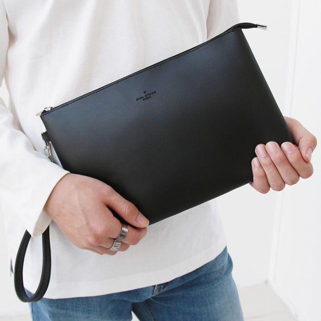 W 남성 회사원 출퇴근 기본 블랙 클러치백 스타일
