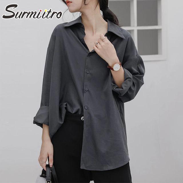 [해외] SURMIITRO 플러스 사이즈 S-3XL 셔츠 여성 2021 봄 가