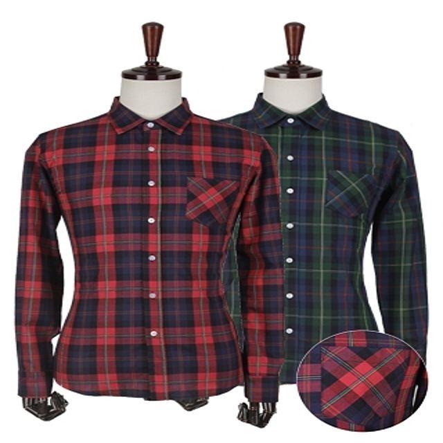 W 체크 패턴 셔츠 남성셔츠 포인트셔츠 체크셔츠