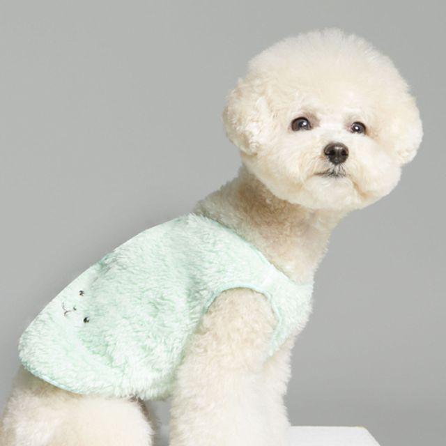 애견 패션 의류 겨울 외출 산책 따뜻 수면 조끼 민트