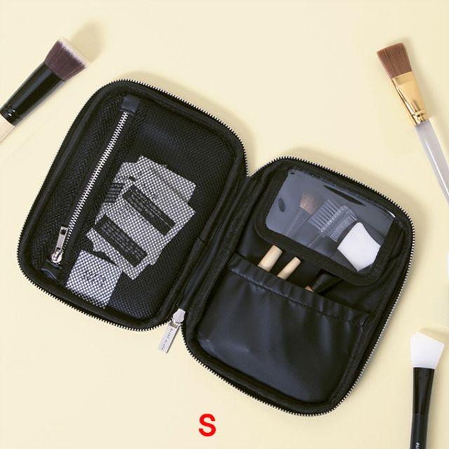 더블수납 브러쉬케이스(S)-블랙 [제작 대량 도매 로고 인쇄 레이저 마킹 각인 나염 실크 uv 포장 공장 문의는 네이뽕]