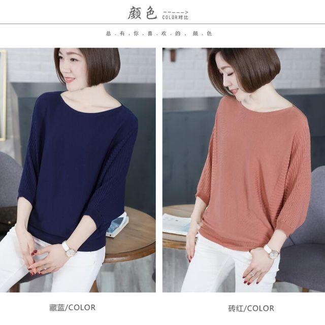[해외] 여성 가오리소매 니트 티셔츠 보트넥 7부소매 T셔츠
