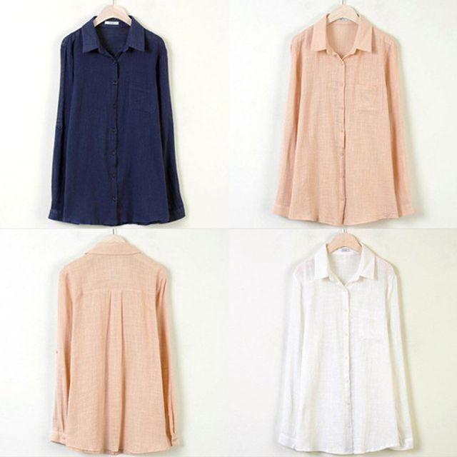 클로이 카라 남방 여성 봄 가을 패션 셔츠