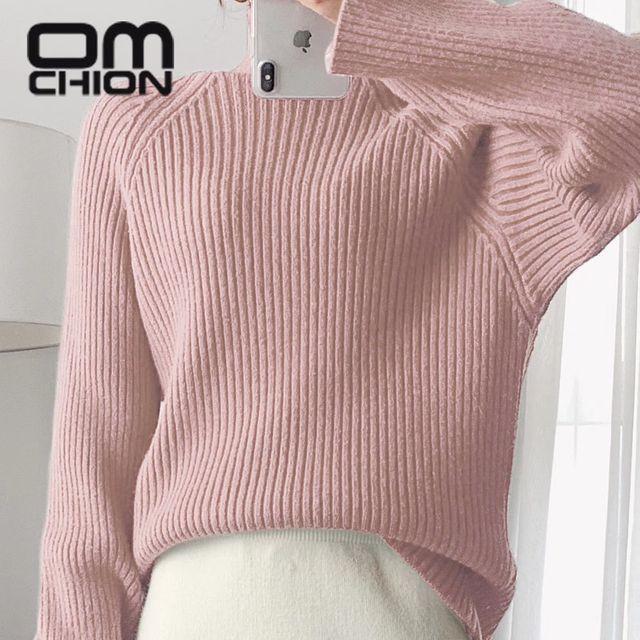 [해외] OMCHION 가을/겨울 터틀넥 롱 슬리브 한국 스웨터 여