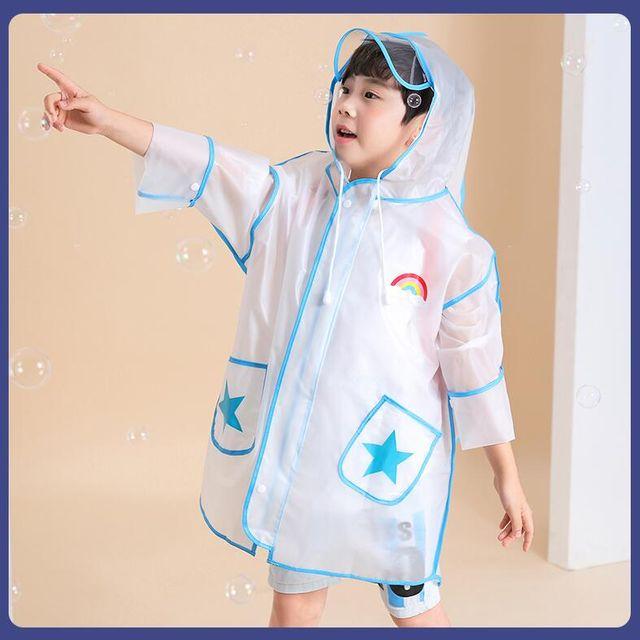 [해외] 어린이 투명 비옷 우비 초등학생 배낭 레인코트