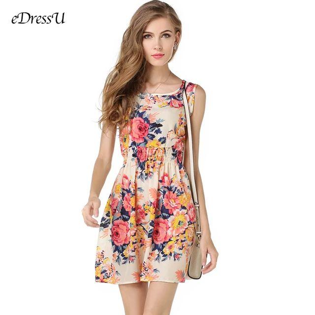 [해외] 2020 여름 프린트 드레스 여성 민소매 꽃 무늬 쉬폰