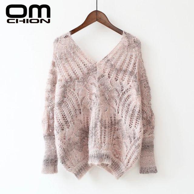 [해외] OMCHION 여성용 스웨터와 풀오버 2019 가을 V 넥 중공