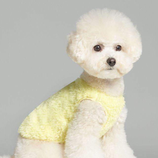강아지 의상 겨울옷 포근이 수면 후리스 조끼 옐로우