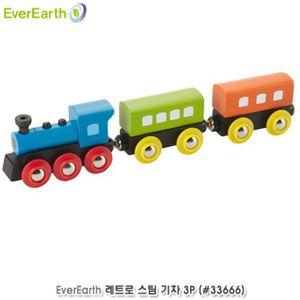원목완구 EverEarth 레트로 스팀 기차 3P