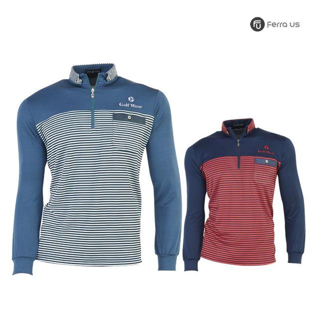 W TCC_페라어스 남성 스판 배색 라인 골프티셔츠 CTAJ20