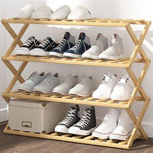 제이와이_접이식 원목 신발장(4단)