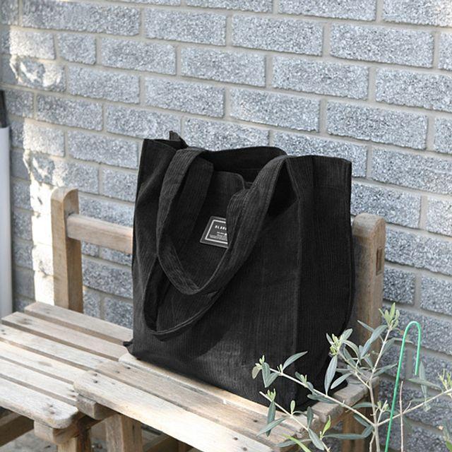 골덴 에코백-블랙 [제작 대량 도매 로고 인쇄 레이저 마킹 각인 나염 실크 uv 포장 공장 문의는 네이뽕]
