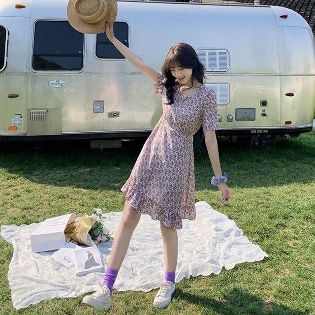 W 스퀘어넥 여성 반팔 시원한 여름옷 플라워 프릴원피