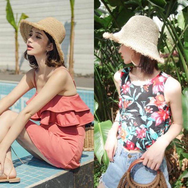 W 모자 수술 포인트 스타일 포인트 여자 벙거지 모자