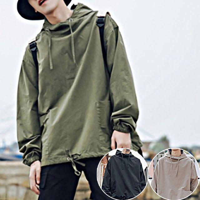 W 남성 넉넉한 핏 모던 디자인 앞포켓 후드티