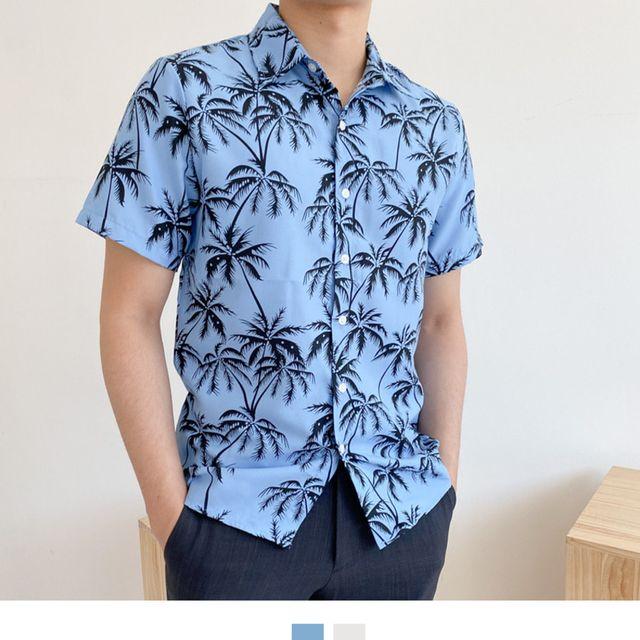 W 야자수 패턴 남성셔츠