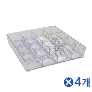 투명 뷰티소품 정리함 9호x4개 화장대정리함 수납함