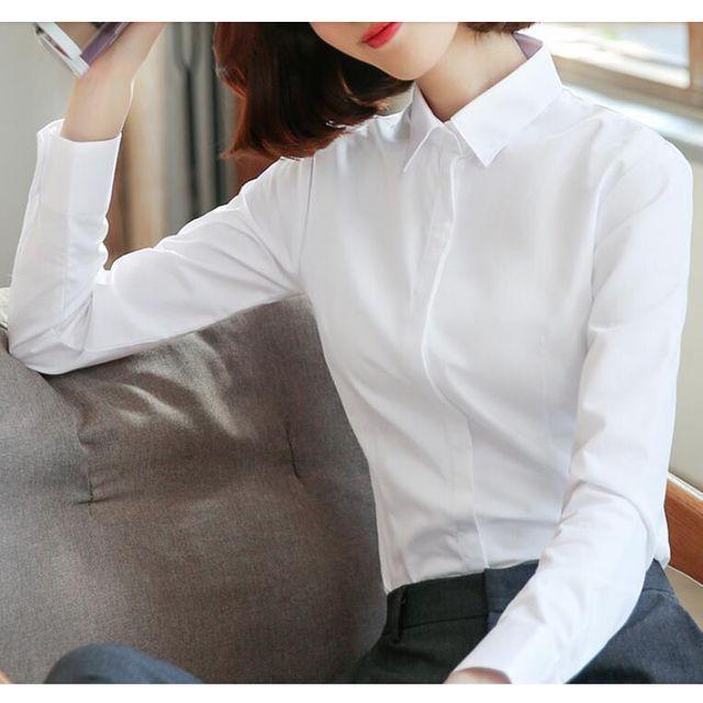 [해외] 여성 카라넥 정장셔츠 양복셔츠 화이트 직업복장