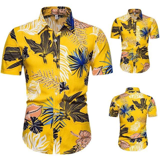 [해외] 2020 여름 옐로우 하와이안 셔츠 남성용 리프 프린트