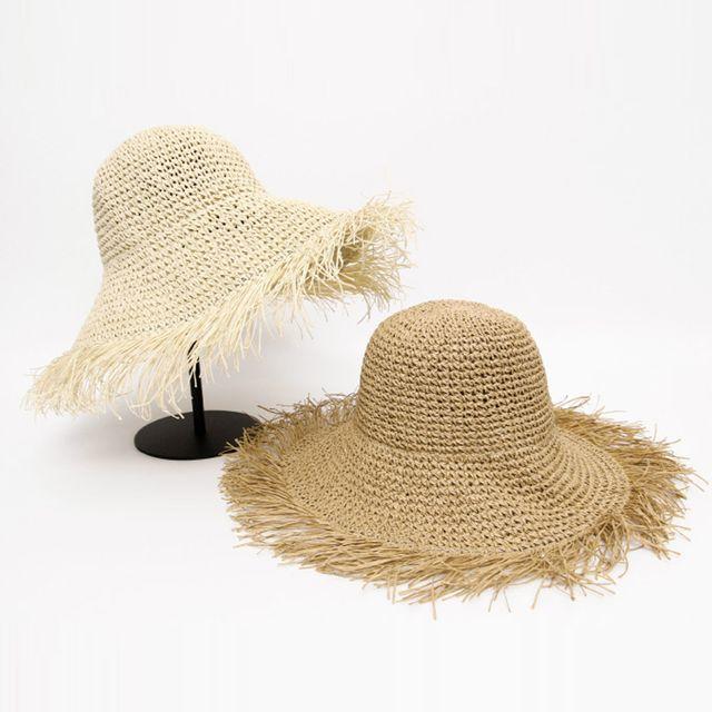 빈티지 패션 밀짚 모자 여름 휴가 여행 데일리 벙거지