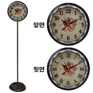 GB6059 무소음양면 스탠드시계 에폭시핑크장미 한국