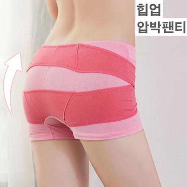 W 엉덩이 힙업 효과 드로즈 형태 여자 속옷 보정 팬티