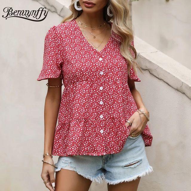 [해외] Benuynffy v 넥 느슨한 시폰 셔츠 여성 2021 여름 짧
