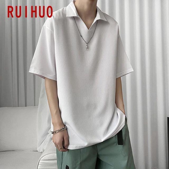 [해외] RUIHUO 솔리드 반팔 남성 T-셔츠 패션 Streetwear 힙