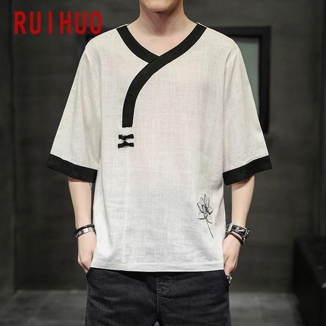 [해외] RUIHUO 리넨 반소매 빈티지 T 셔츠 남성 의류 Tshirts