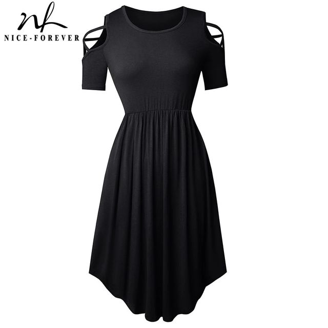 [해외] 니스-영원히 새로운 여름 순수한 색상 중공 드레스 캐
