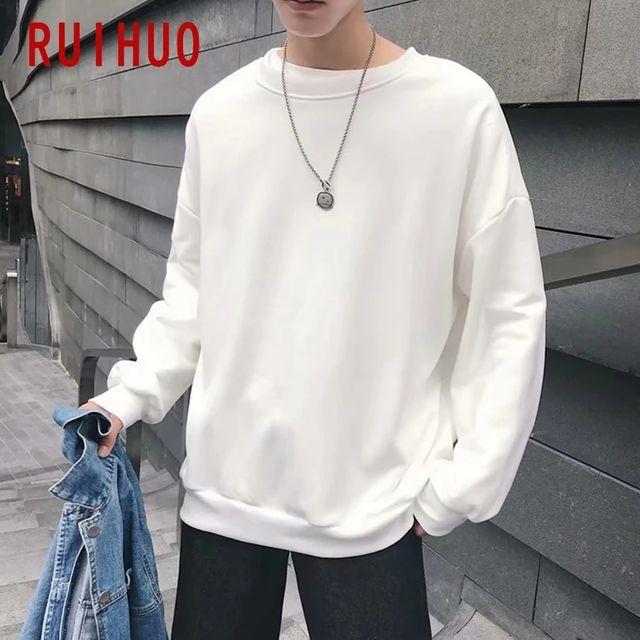 [해외] RUIHUO 솔리드 운동복 남성 의류 일본 Streetwear 남